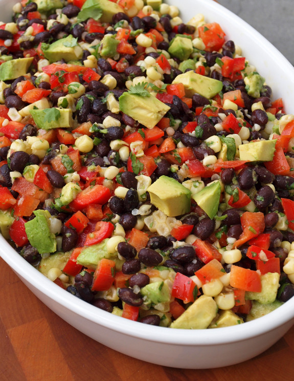 Black Bean Salad with Corn, Red Peppers, and Avocado in a Lime-Cilantro Vinaigrette by Once Upon a Chef
