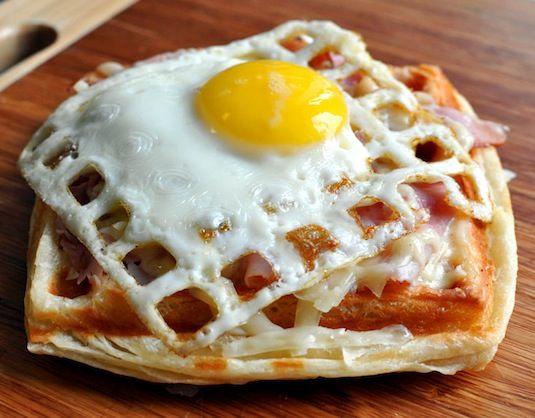 waffled egg sandwich