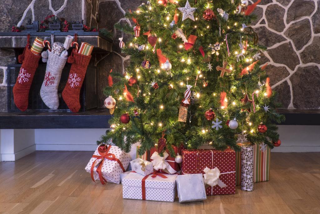 Christmas stockings and tree