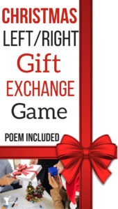 Add to your Christmas party this fun right/left gift exchange game. The instructions and gift exchange poem are included as well for free! Enjoy your Christmas party!