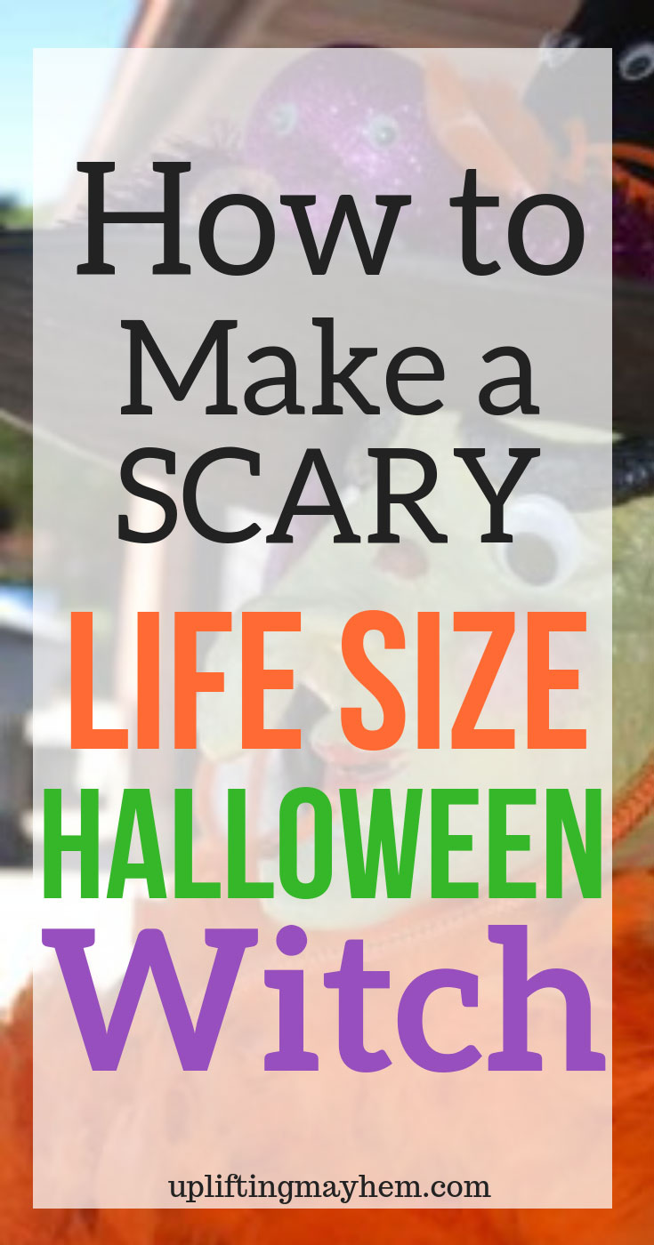 Create your own personalized life sized Halloween witch for your Halloween Decorations. You can put your life sized Halloween witch on your front porch or in your home to liven up your Halloween decor